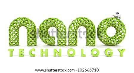 Inscription nanotechnology isolated on white background 3D - stock photo