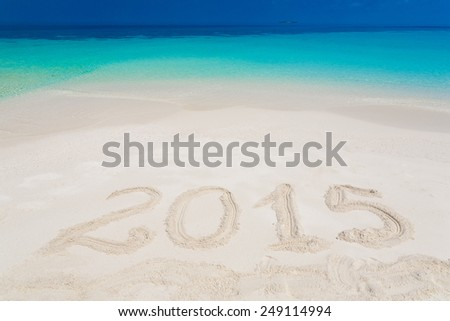 inscription numbers 2015  of sea tropical  Maldives  romantic  atoll island paradise luxury  resort  about coral reef, holiday calendar text new year