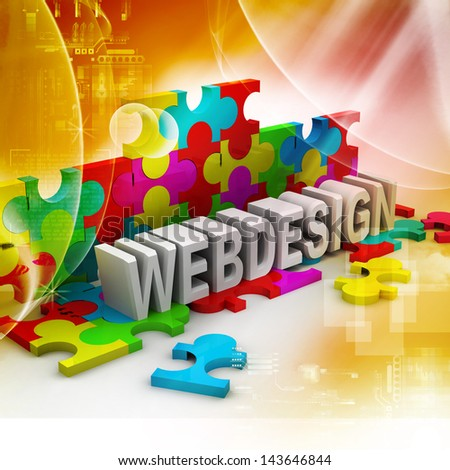Inscription of colorful puzzles - Web Design