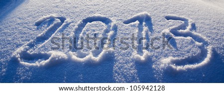 Inscription on a snow - 2013(Two thousand thirteenth) - stock photo