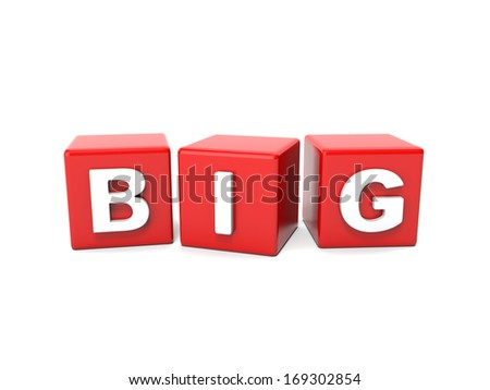 Inscription on the cubes of red,big  - stock photo