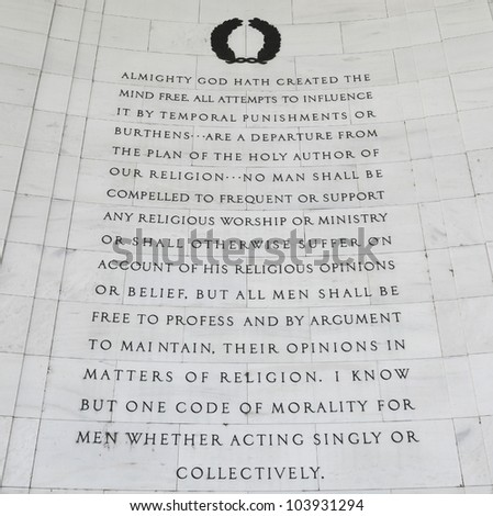 """Inscription on the northwest quadrant of the Jefferson Memorial in Washington, DC.  Passages were selected from """"A Bill for Establishing Religious Freedom"""" drafted in 1777 by Thomas Jefferson. - stock photo"""