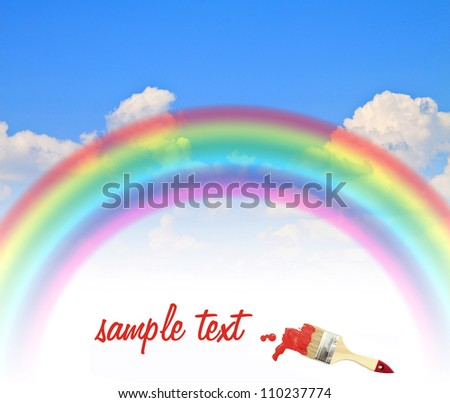 inscription red paint brush rainbow blue summer sky background - stock photo
