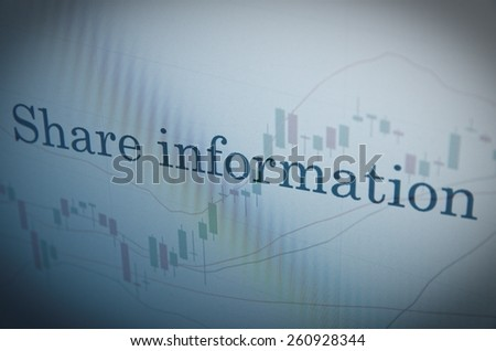 "Inscription ""Share information"" on PC screen. Financial concept. - stock photo"