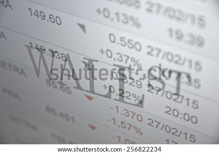 "Inscription ""WALL st."" on PC screen. Trading terminal as background. - stock photo"