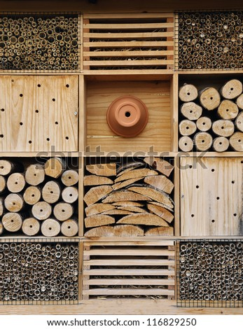 Insect hotel. It is used for attract good bugs insects for garden plants - stock photo