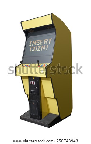 Insert Coin message on a retro arcade isolated on white
