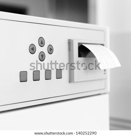 insert ticket to a machine - stock photo