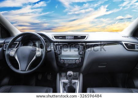 inside a car - stock photo