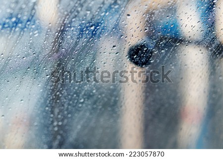 inside a car during car wash process  - stock photo