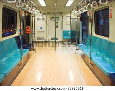 Inside a empty subway - stock photo