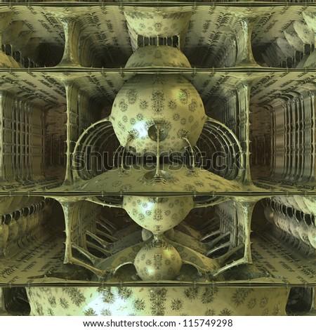 inside a futuristic scifi spaceship rendering - stock photo