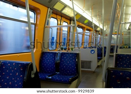 Inside a metro carriage in Vienna, Austria