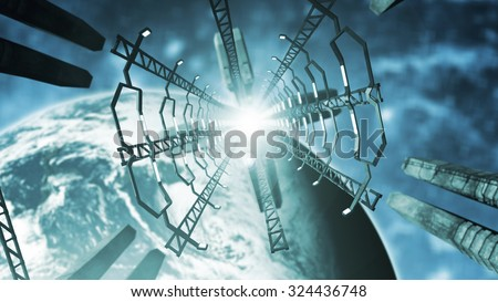 Inside a space station. 3D rendering - stock photo