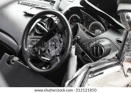 inside a wrecked car , inside crashed car - stock photo