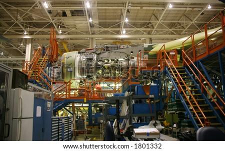 Inside Aerospace Manufacturing Facility Plant - stock photo