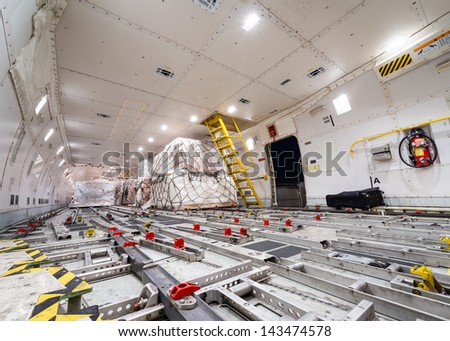 inside air cargo freighter  - stock photo