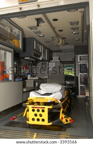 inside ambulance - stock photo