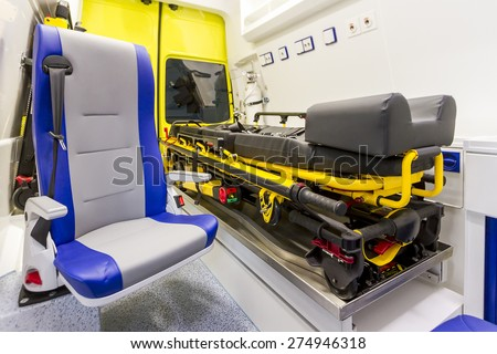 Inside ambulance car - stock photo