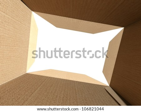 Inside an empty open cardboard box with white background - stock photo
