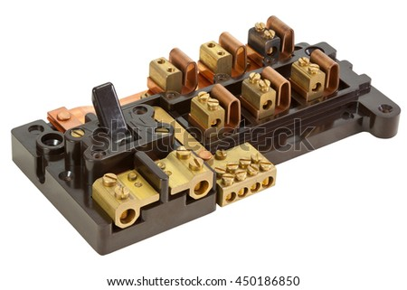 Inside an Old Fuse box isolated on white with clipping path - stock photo