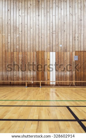 Inside an old gym hall - stock photo