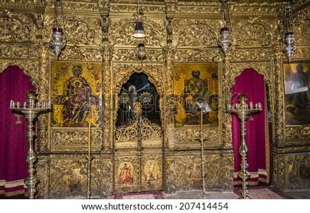 Inside an old Orthodox church - stock photo