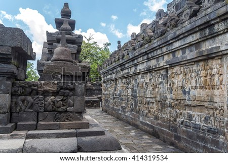 Inside ancient Borobudur temple