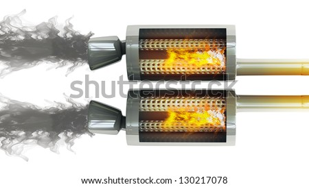 inside. Car Exhaust Pipe fire and smoke isolated on white background high resolution 3d illustration - stock photo