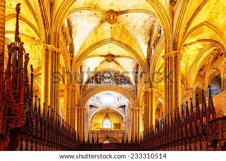 Inside Cathedral. Cathedral of the Holy Cross and Saint Eulalia. Barcelona.Spain - stock photo
