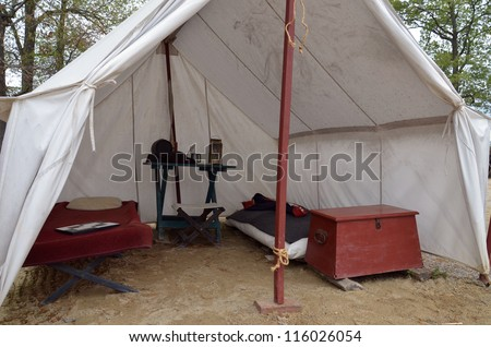 Inside Colonial Officer Tent - stock photo