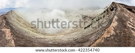 Inside crater of Bromo volcano, Java island, Indonesia - stock photo