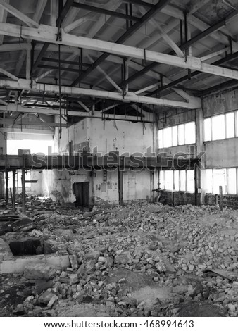 Inside destroyed factory
