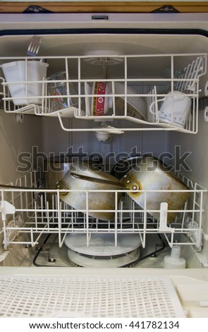 Inside dishwasher; Kitchen - stock photo