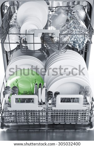 Inside dishwasher, soft focus, vertical image - stock photo