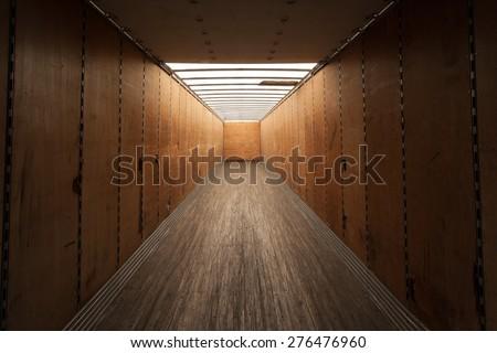 Inside empty cargo container. - stock photo