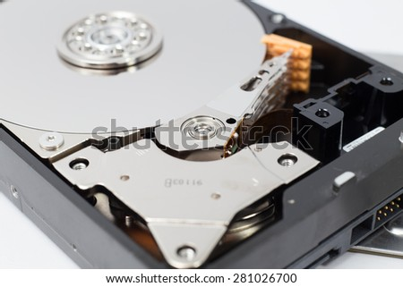 Inside Hard Disk Drive (HDD)-Computer Hardware Components. - stock photo