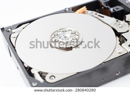 Inside Hard Disk Drive (HDD)-Computer Hardware Components Focus on Spindle. - stock photo