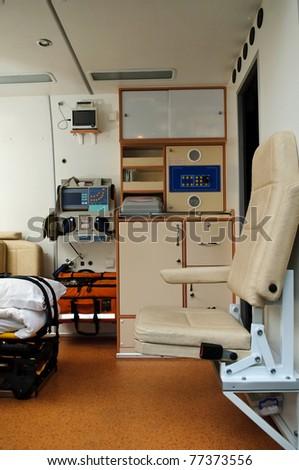 Inside of a ambulance - stock photo