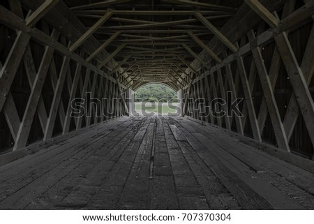 Inside of a covered Bridge-Hogback Covered Bridge