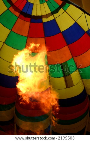 Inside of a hot air balloon. - stock photo
