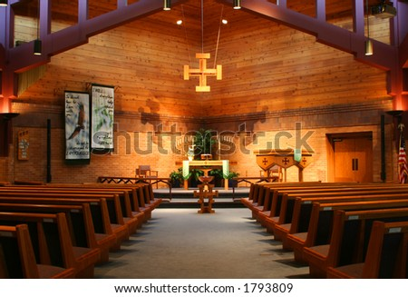 Inside of a Lutheran Church - stock photo