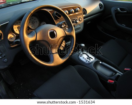 Inside of a Sports Car - stock photo