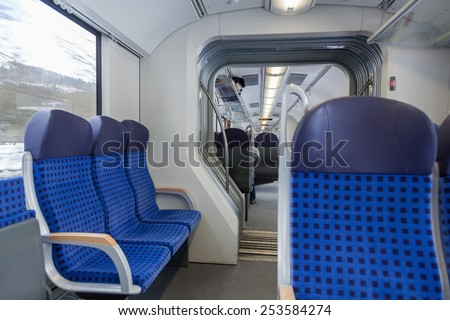 inside of a train - stock photo