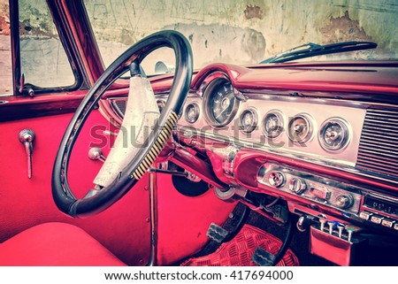 Inside of a vintage classic american car in Cuba, vintage process - stock photo