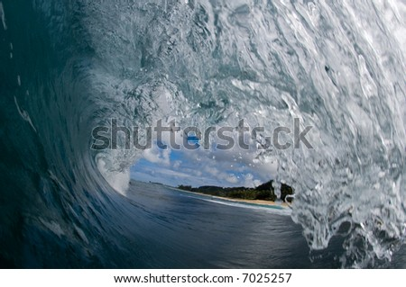 inside of a wave - stock photo