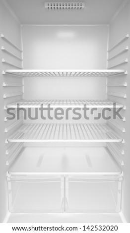Inside of an empty white fridge - stock photo