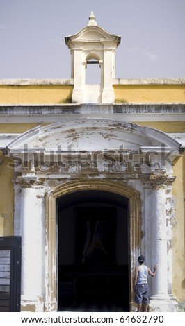 Inside of El Morro. A 16th century citadel in Old San Juan Puerto Rico constructed to protect the town from attack by sea. - stock photo