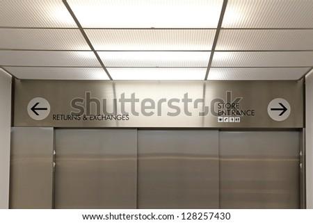 Inside of elevator - stock photo