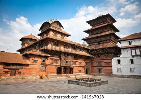 Inside of  Hanuman Dhoka, old Royal Palace, Durbar Square in Kathmandu,  Nepal. - stock photo
